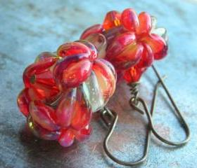 Glass Flower earring..