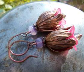 Copper tulip earring..