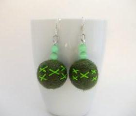 Green Felted Earring..