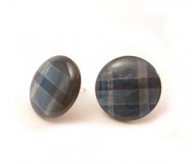 Blue Plaid Button Ea..