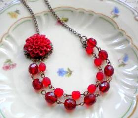 Red Flower Cabochon ..