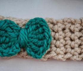 teal and cream bow c..