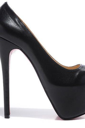 PUMP Platform Celebrity Genuine Leather Nude and Black Stilettos Party Evening Wedding High Heels