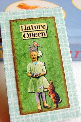 Vintage Girl with Birds and a Bunny Rabbit - Nature Queen - Paper and Chipboard Collage Decoupage Pin Brooch Badge - Retro