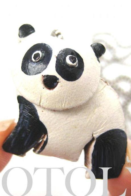Faux Leather Panda Bear Teddy Animal Charm Necklace with Mobile Strap