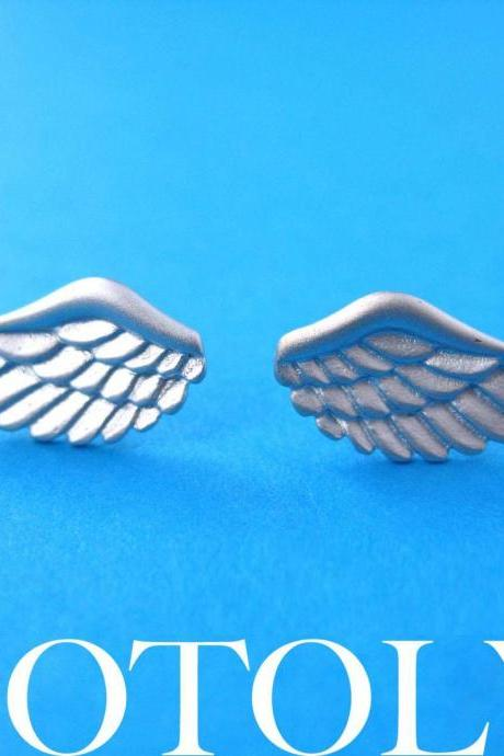 Angel Wings Feather Stud Earrings in Sterling Silver