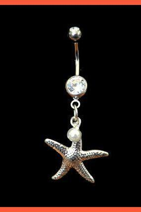 Starfish Belly Ring with Pearl Accent