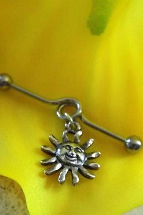 Sun Cartilage on Industrial Barbell Body Jewelry