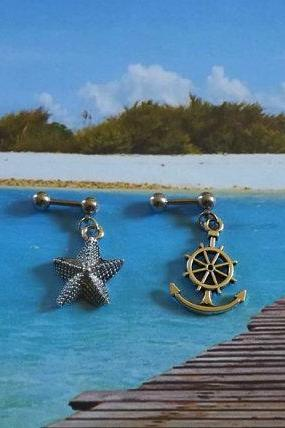 Starfish/ Ship Anchor Cartilage Earring on 16ga Bar body Jewelry