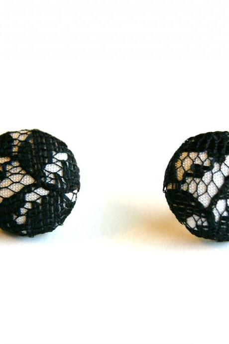White and Black Lace Button Earrings