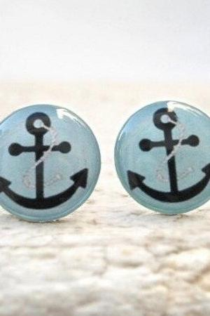 Anchor Earrings Nautical Ear Stud, Baby Blue Black, Sea