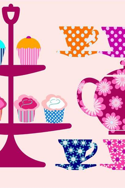 Teapot Teacups and cupcakes Fabric wall decals