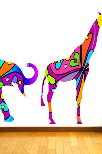Kids Wall Decals Colorful Elephant and Giraffe Wall Decals