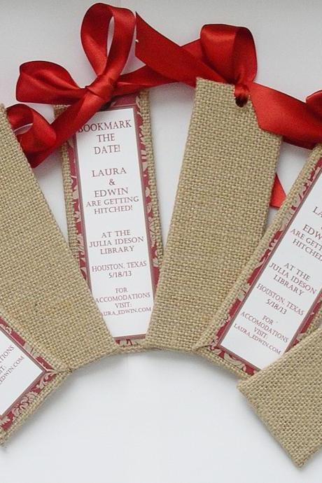 Burlap and Paisley Bookmark the Date Bookmarkers - (Custom Colors Available)