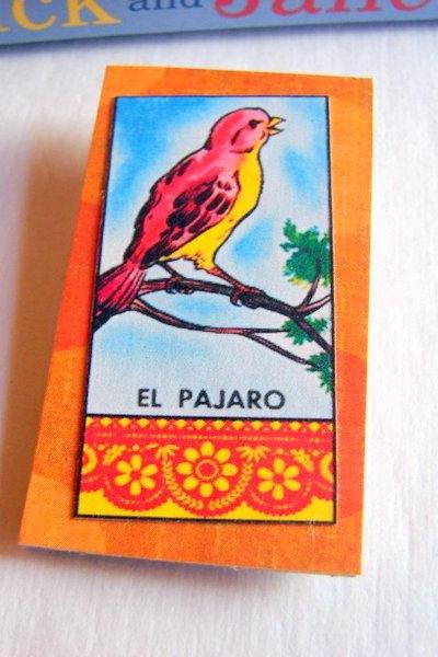 El Pajaro The Bird - Mexican Loteria Card - Paper and Chipboard Collage Decoupage Pin Brooch Badge - Vintage Hispanic