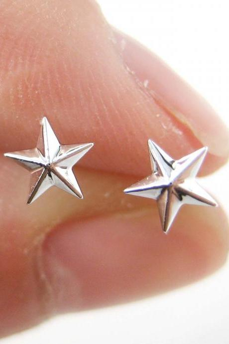 Small Simple Star Shaped Stud Earrings Non Allergenic Plastic Post
