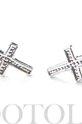 Small Cross Shaped Stud Earrings Non Allergenic Plastic Post