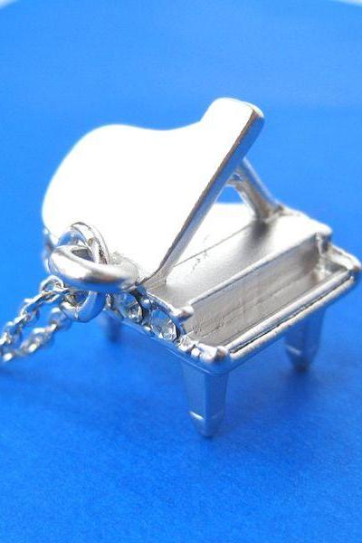 Miniature Realistic Grand Piano Charm Necklace in Sterling Silver