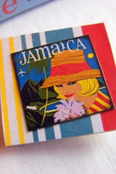 Jamaica Woman In A Straw Hat - Vintage Travel Poster - Paper and Chipboard Collage Decoupage Pin Brooch Badge - Retro