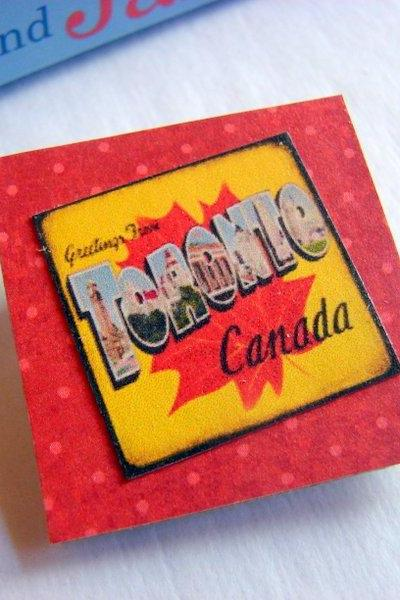 Greetings From Toronto Canada Maple Leaf - Vintage Travel Poster - Paper and Chipboard Collage Decoupage Pin Brooch Badge - Retro