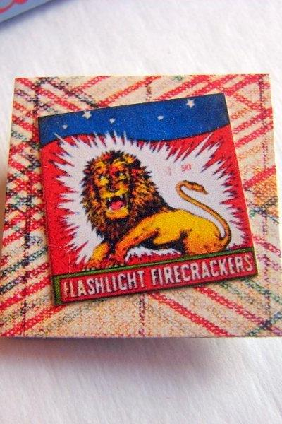 Flashlight Firecrackers Roaring Lion - Vintage Chinese Fireworks Label - Paper and Chipboard Collage Decoupage Pin Brooch Badge - Retro