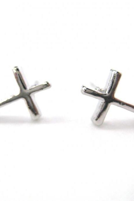 Small Simple Cross Shaped Stud Earrings in Silver