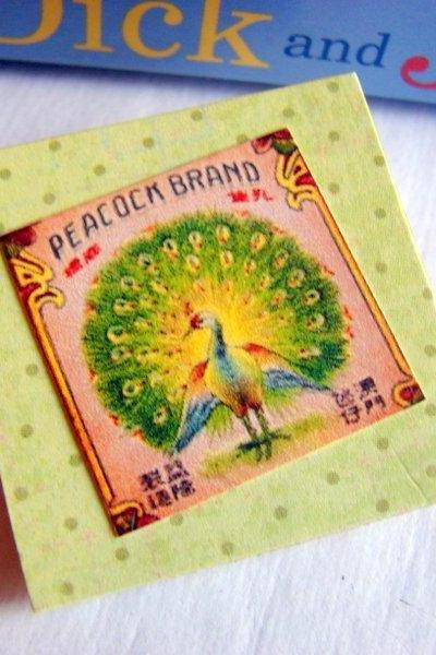 Peacock Brand - Vintage Chinese Fireworks Label - Paper and Chipboard Collage Decoupage Pin Brooch Badge - Retro