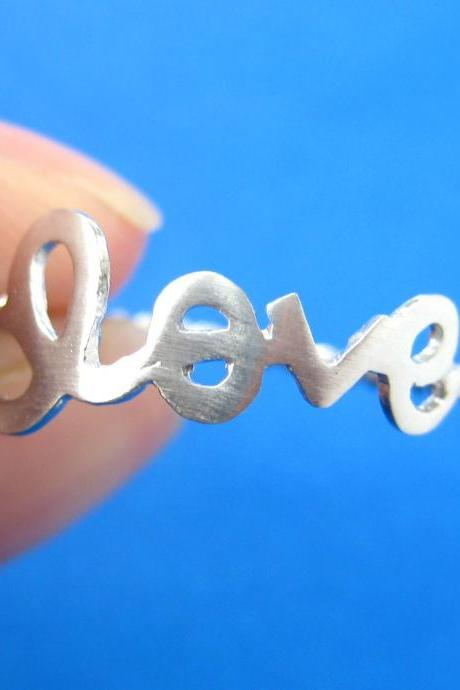 Love Cursive Heart Ring in Sterling Silver - Size 5, 6 and 7 ONLY