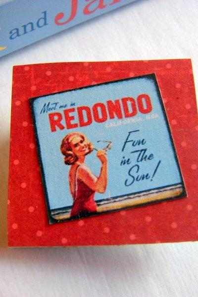 Redondo Beach California Fun In The Sun - Vintage Travel Poster - Paper and Chipboard Collage Decoupage Pin Brooch Badge - Retro