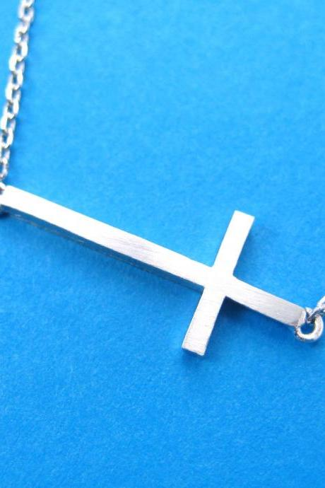 Simple Cross Shaped Bar Necklace in Sterling Silver