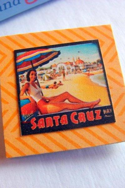Santa Cruz California Woman Under A Beach Umbrella - Vintage Travel Poster - Paper and Chipboard Collage Decoupage Pin Brooch Badge - Retro