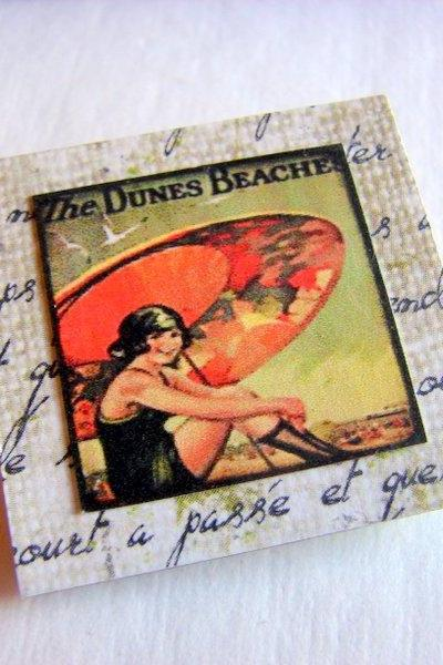 The Dunes Beach Woman Under An Umbrella - Vintage Travel Poster - Paper and Chipboard Collage Decoupage Pin Brooch Badge - Retro