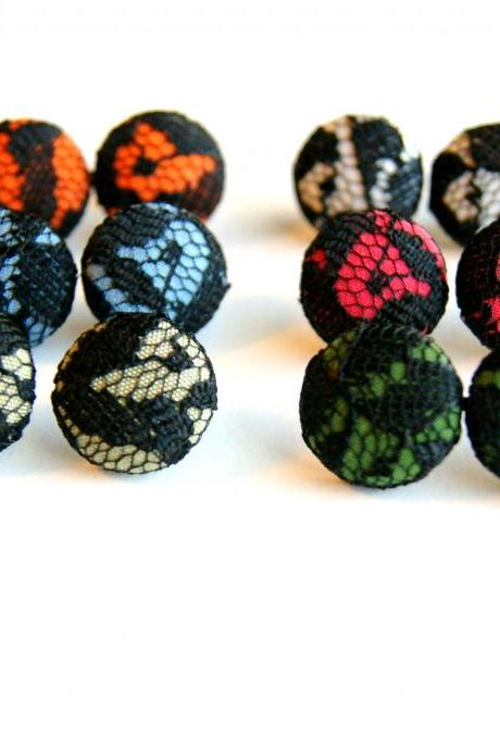 Black Lace Fabric Button Earrings - Set of Three