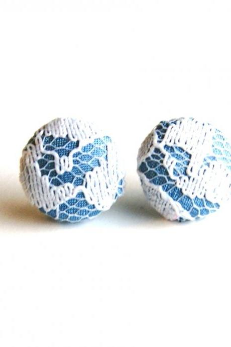 Medium Blue and White Lace Button Earrings