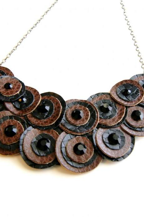 Black and Brown Leather Bib Necklace