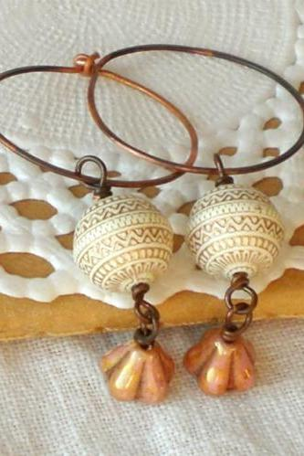 'Astraea' Goddess earrings - 'Treasures' collection - in cream white and gold tones, boho chic