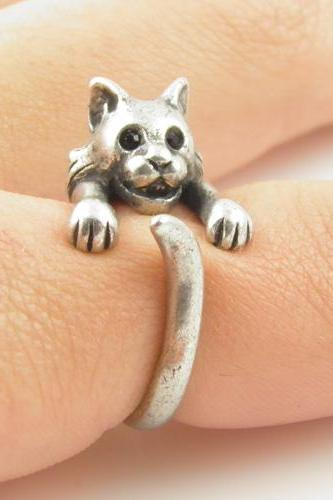 Bobcat Animal Wrap Ring - Silver