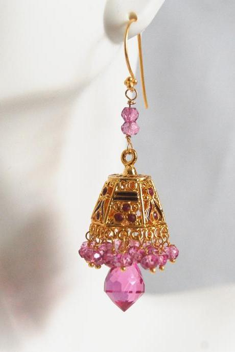 Gorgeous Hot Pink Quartz Chandelier -Mystic Rubelite quartz Gold Enamel lampshade bell Chandelier earringsDangle Drop Earrings