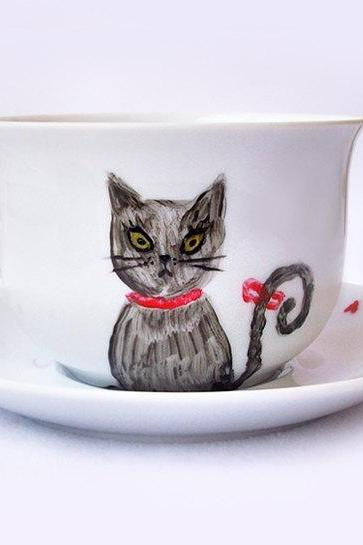 Hand Painted Cat Mug, I Love You Mug, Cat Mug with Saucer, Love Gift, OOAK