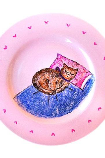 Hand Painted Sleeping Cat Plate, Breakfast Ceramic Plate, Sleeping Cat, Cat Pottery, Pink, OOAK