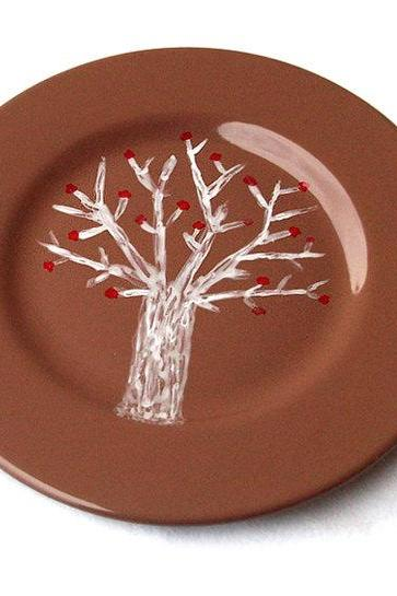 Hand Painted Tree Plate, Breakfast Ceramic Plate, Tree Pottery, Brown, OOAK, Nature