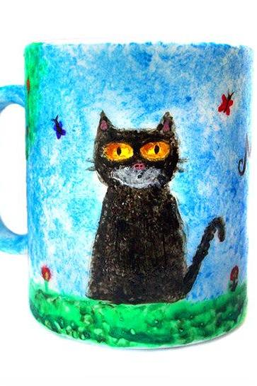 Hand Painted Cat Mug, Hand Painted Ceramic, Cat Cup, Milk, Tea, Coffee, OOAK