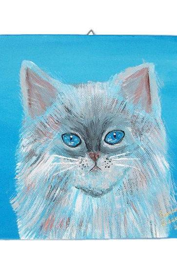 Original Cat Painting, Kitten Painting, Cat Portrait, Acrylic Painting, Ready to hang