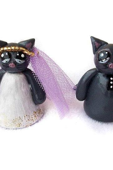 Kitty Cake Topper, Cat Cake Topper, Wedding Cake Topper, Polymer Clay Cat Cake Topper