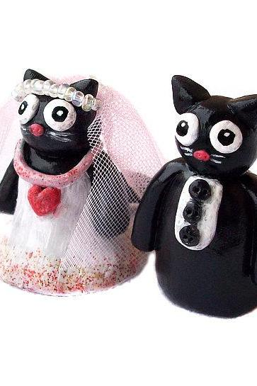 Polymer Clay Cat Cake Topper, Cat Cake Topper, Wedding Cake Topper, Kitty Cake Topper