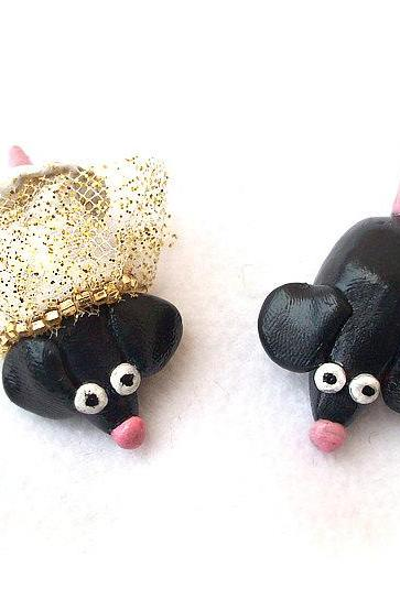 Mice Cake Topper, Mouse, Wedding Cake Topper, Polymer Clay Mouse Cake Topper