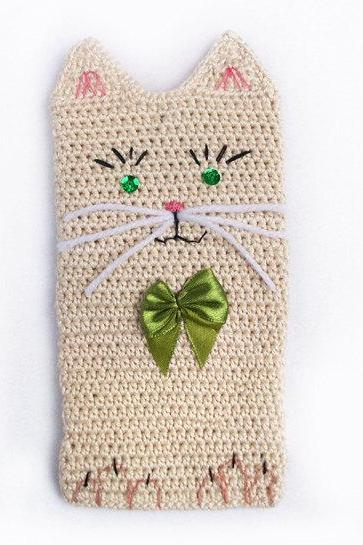 Cat Phone Case, Cat Phone Cover, Crochet Phone Cozy, iPhone 4 Case, OOAK
