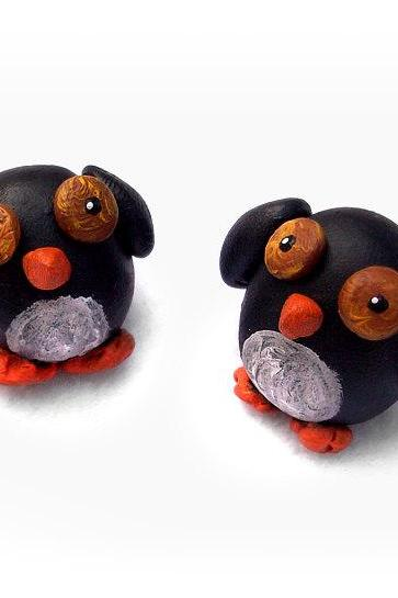 Penguin Ornament Polymer Clay Figurine, Penguin Couple, Penguin Love, miniature, handmade, OOAK