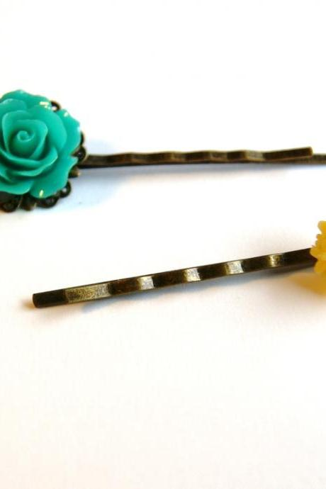 Turquoise Green and Yellow Flower Bobby Pins - Set of Two