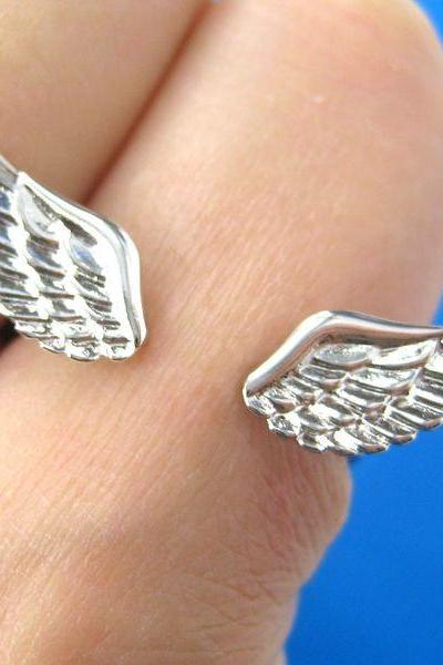 Angel Wings Feather Adjustable Ring in Shiny Silver - Allergy Free